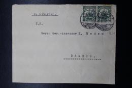 Deutsche Post In Kiautschou: Brief Tsingtau -> Danzig 2 Cent Paar - Kolonie: Kiautschou