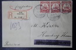 Deutsche Post In Kamerun Einschreiben Brief 1911 Kibris -> Hamburg  3x Mi 22 - Kolonie: Kamerun