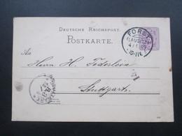 Deutsches Reich 1889 Ganzsache Pfennig Mit Kreisobersegment Stempel / KoS Forst (Lausitz) - Germany