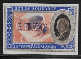 France Bon De Solidarité 2 Francs Pétain - NEUF - Bonds & Basic Needs