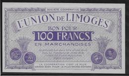 France L'Union De Limoges - Bon Pour 100 Francs - NEUF - Bonds & Basic Needs
