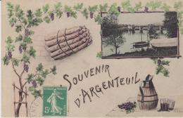 VAL D'OISE - SOUVENIR D' ARGENTEUIL  ( - Avec Asperges Et Cruche à Vin - Timbre à Date De 19.. ?) - Argenteuil
