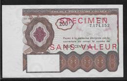 France Chèque Postal De Voyage - 200 Francs - Spécimen - NEUF - Chèques & Chèques De Voyage
