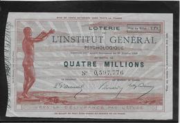 France Billet De Loterie - Institut Général Psychologique - Billets De Loterie