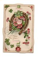 """0329 """"CALENDARIO - A HAPPY NEW YEAR"""" FERRO DI CAVALLO, FIORI IN RILIEVO-TIMBRO AL CONTRARIO 1908 - Calendars"""