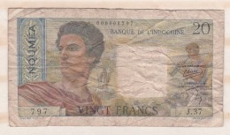 20 Francs NOUVELLE CALEDONIE - NOUMEA - Banque De L Indochine. Serie J.37 - Nouméa (Nuova Caledonia 1873-1985)