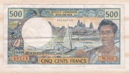 Institut D émission D Outre Mer , 500 FRANCS , Alphabet W.009 ,n° 40718 - French Pacific Territories (1992-...)