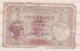 Nouvelles Hébrides 5 Francs De Nouméa, Surcharge France Libre, Croix De Lorraine - Nouvelles-Hébrides