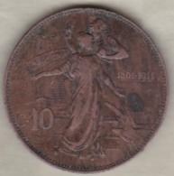 ITALIE . 10 CENTESIMI 1911 R (ROMA). VITTORIO EMANUELE III - 1861-1946 : Royaume