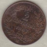 ITALIE. 2 CENTESIMI 1867 M (MILANO) .VITTORIO EMANUELE II - 1861-1946 : Royaume
