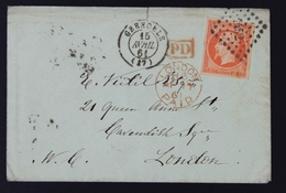 France Lettre 1853-60 Emission Empire Non Dentelé Napoleon III 40c Orange No16 15-04-1861 à London Grande Bretagne - 1849-1876: Période Classique