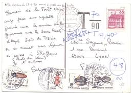 Carte Postale Affranchie Avec Timbre Allemand Utilisé En Suisse Taxe A 4.40 Fr - Postage Due Covers