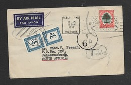 S.Africa, 6d, MELBOURNE VICTORIA 14 JAN 1952 > S.Africa; T(axe) 6D, 2 X 3D Postage Due Of SA JOHANNESBURG 9.4.52 - South Africa (...-1961)