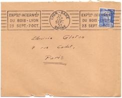 France Lettre Flamme Lyon Gare Rhone Exposition Internationle Du Bois 23 Septembre / 7 Octobre - Sellados Mecánicos (Publicitario)