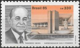 BRAZIL 1985 Tancredo Neves (President-elect) Commem -  330cr Neves And Brasilia Buildings MNH - Neufs
