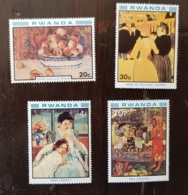 RWANDA Tableaux, IMPRESSIONNISTES, Painting ** MNH Toulouse Lautrec, Renoir, Gauguin, Cassat - Impressionisme