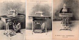 """LOT DE 3 CARTES """"Machine à Coudre HACHEVETECO"""" - Cartes Postales"""