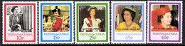 Tristan Da Cunha 1988 Royal Ruby Wedding Overprints Set Of 5, MNH, SG 438/42 - Tristan Da Cunha