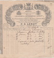 Petite Facture 1880 / C.N. LEROY / Graisse Pour Transmissions / 92 Levallois Perret - Frankrijk