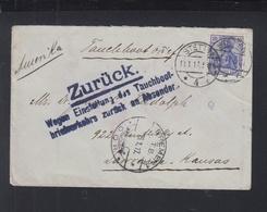 Dt. Reich Tauchboot Brief 1917 Stettin Nach USA Zurück - Deutschland
