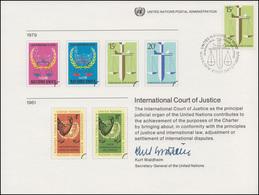 UNO Erinnerungskarte EK 16 Internationaler Gerichtshof 1979, NY-FDC 9.11.1979 - New York – UN Headquarters