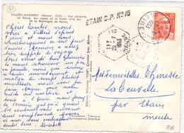 France Cartes Avec Obl Hexagonale Et Griffe En Arrivée Etain CP N ° 15 Meuse - Marcophilie (Lettres)