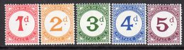 Tristan Da Cunha 1957 Postage Dues Set Of 5, MNH, SG D1/5 - Tristan Da Cunha