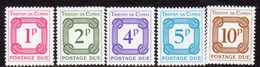 Tristan Da Cunha 1976 Postage Dues, Wmk. Multiple Crown CA Diagonal Set Of 5, MNH, SG D11/15 - Tristan Da Cunha