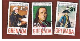GRENADA - SG  700.703  - 1975  BICENTENARY OF AMERICAN REVOLUTION (3 STAMPS OF THE SET)   - USED° - Grenada (1974-...)