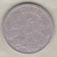AFRIQUE Du SUD . 6 PENCE 1895 Z.A.R . PAUL KRUGER . ARGENT . KM# 4 - South Africa