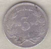 AFRIQUE Du SUD . 3 PENCE 1896 Z.A.R . PAUL KRUGER . ARGENT . KM# 3 - Afrique Du Sud