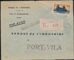 NOUVELLE CALEDONIE REGISTERED FROM NOUMEA 1950 TO PORT VILA - Nouvelle-Calédonie
