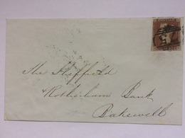 GB - Victoria - 1848 Cover Birmingham Mark In Blue With Bakewell Receiving Mark Tied With 1d Red Imperf - Covers & Documents