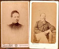 Lot De 2 Portraits Cartes-De-Visite Originales Couple Suisse - Lausanne,  Ossent-Hefti & Genève, Henri Lacombe - Alte (vor 1900)