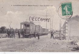 87-SAINT-SORNIN-LEULAC (Haute-Vienne)- GARE De TRAMWAYS-Ecrite-Timbrée-Cachet St-SORNIN 1913-Edit. P.M. - Other Municipalities