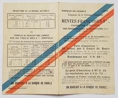DOCUMENT - BANQUE DE FRANCE - RENTES FRANCAISES 5% DE LA DEFENSE NATIONALE - 1915 - SOUSCRIPTION GUERRE 1914/18 - Casques & Coiffures