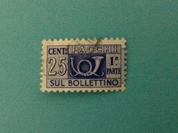 ITALIA PACCHI POSTALI 25 CENT FILIGRANA STELLE USATO 1 PARTE STAMP USED - Pacchi Postali