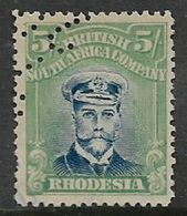 Rhodesia / B.S.A.Co., GVR, Admiral 5/=, Fiscal Use - Part Of Perfin Date - Southern Rhodesia (...-1964)