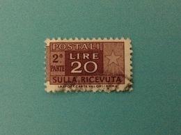 ITALIA PACCHI POSTALI 20 LIRE CON SCRITTA IN BASSO FILIGRANA STELLE USATO 2 PARTE STAMP USED - Pacchi Postali
