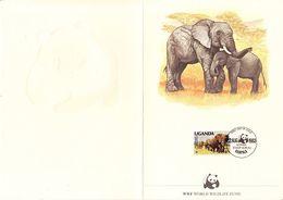 FDC, Faltblatt, Elefanten, Erstausgabestempel Kampala 1983 (56530) - Uganda (1962-...)