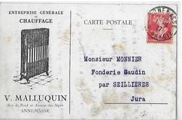 ANNEMASSE CARTE PUBLICITAIRE V. MALLUQUIN RUE DU NORD ENT CHAUFFAGE  Taches   DEPT 74 - Annemasse