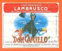 étiquette De Vin Italie - Italia Vino Lambrusco Don Camillo - 75 Cl Diable - Angelot - Etichette