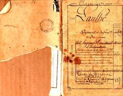 Livret Militaire De La Classe 1871 Laulhé Pierrel Né Le 20.12.1851 Régiment D'Infanterie & Artillerie à Bayonne En 1876 - Documenti