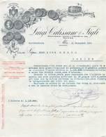 """0351 """"ALBA - STABILIMENTO VINICOLO - LUIGI CALISSANO & FIGLI - 1925-COPPA D'ONORE ESPESIZ. 1898"""" LETTERA COMM ORIG - Italia"""