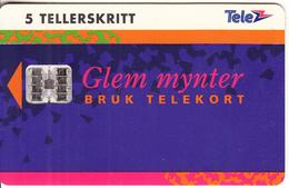 NORWAY - Glem Mynter(018), Tirage 50000, 10/93, Used - Norway