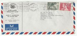1957 UN In GREECE Airmail COVER To UN  EXECUTIVE OFFICER PUBLIC INFO Dept  NY USA United Nations Stamps - Greece