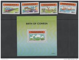 TANZANIA ,1996, MNH,COMESA, TOURISM, MOUNTAINS, FISHING, TRAINS, SHIPS, WILDLIFE, COTTON, 4v+S/SHEET - Trains