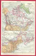 Carte Du Canada, Larousse 1908 - Vieux Papiers