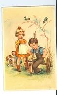 CPAS Deux Enfants (garçon Jouant Violon Bricolé), Fillette Au Tablier, Poupée, Petit Chien - Groupes D'enfants & Familles