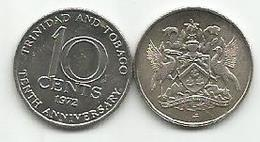 Trinidad And Tobago 10 Cents 1972. KM#11 10th Anniversary Of Independence - Trinité & Tobago